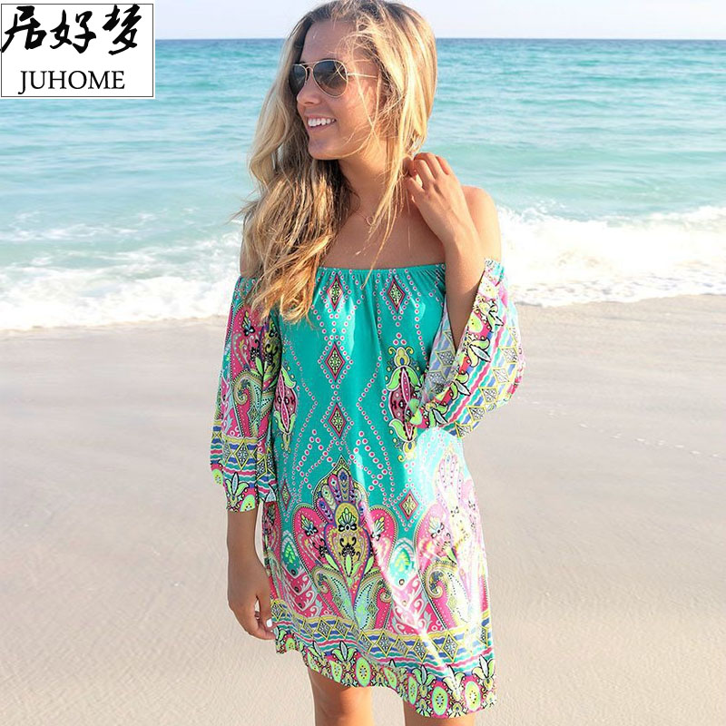 plus size dameskleding 2018 Summer Sundress casual mode skater groene jurk gewaad femme boho dress Boheemse tuniek Beach tube