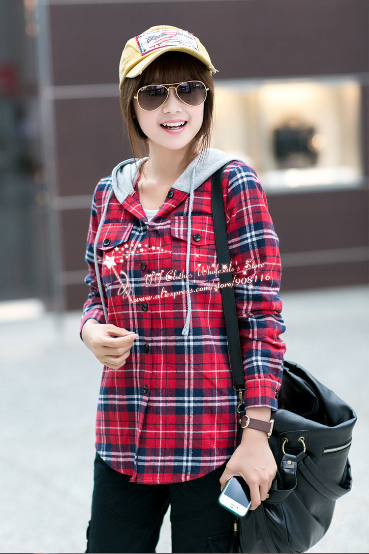 2013 New Hot,women British Style Long Sleeved Autum Hooded Plaid ...