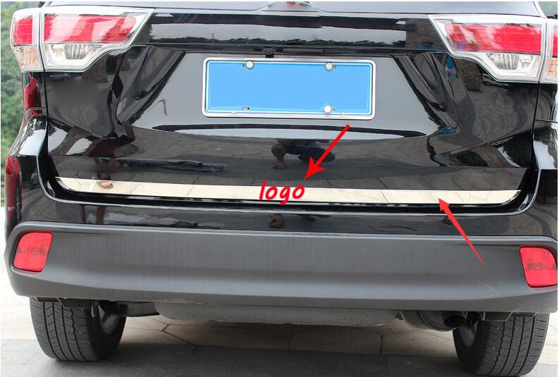 For TOYOTA highlander 2014 2015 kluger high quality Stainless steel rear trunk boot tailgate door cover trim molding strip