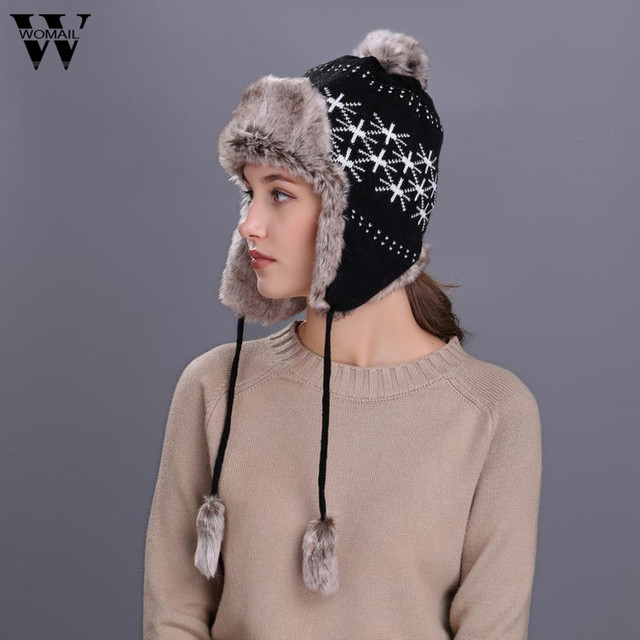 Faux Fur Warm Women Winter Hat with Ear Flaps Snow Ski Thick Plush Knit  Wool Beanie Cap Hat 91872f82ed