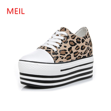Low/High Top Sneakers Woman Canvas Leopard Shoes Womens Platform 2019 New Fashion Sexy Casual High Wedge
