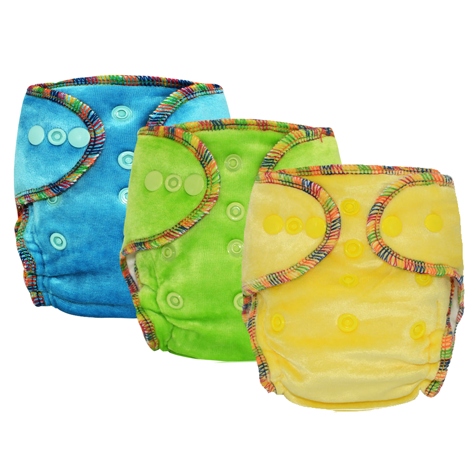 Miababy 5pc Newborn Bamboo Velour Fitted Cloth Diaper un waterproof fit baby from 3 5kg or