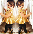 Детская одежда Мода новорожденных девочек мода кожаные брюки + топ одежда для девочек