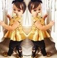 Ropa de los niños niñas bebé de La Manera de cuero de moda legging + top ropa de las muchachas