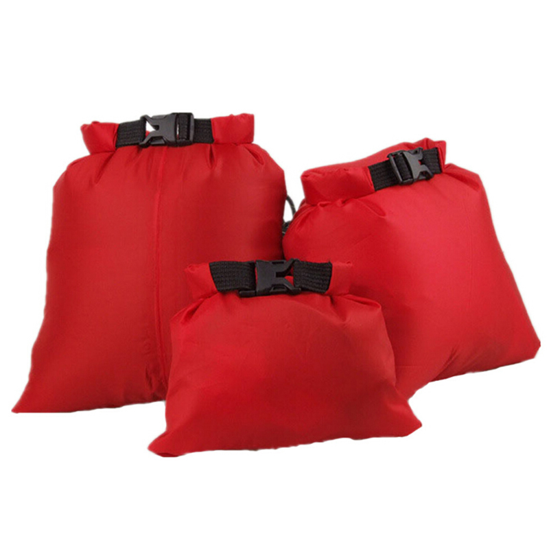 3pcs Outdoor Nylon Swimming Waterproof Storage Bag With Adjustable Strap Hook Camping Drifting Storage Dry Bag 1.5L 2.5L 3.5L