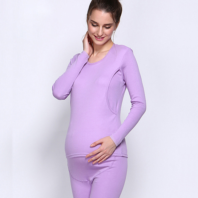 2017Winter New High-Quality Long-StapleCotton Lace Round Neck Design Breast Breast Opening Breast-Feeding Pregnant Women Pajamas
