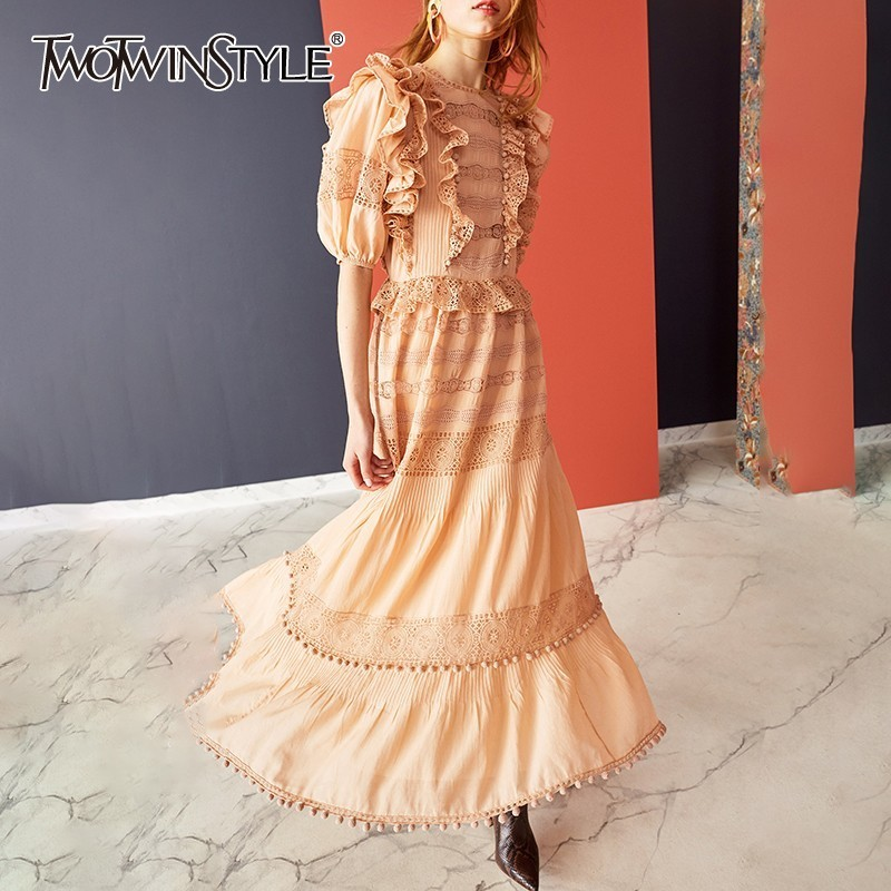TWOTWINSTYLE Elegant Solid Women Dress O Neck Half Sleeve High Waist Ruffles Hollow Out Midi Dresses