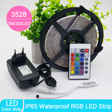 Wholesale 5m 3528 Waterproof LED Strip RGB IP65 Led Light DC12V 60LEDs/M outdoor lighting Ribbon Tape Lamp Home Decoration Lamp