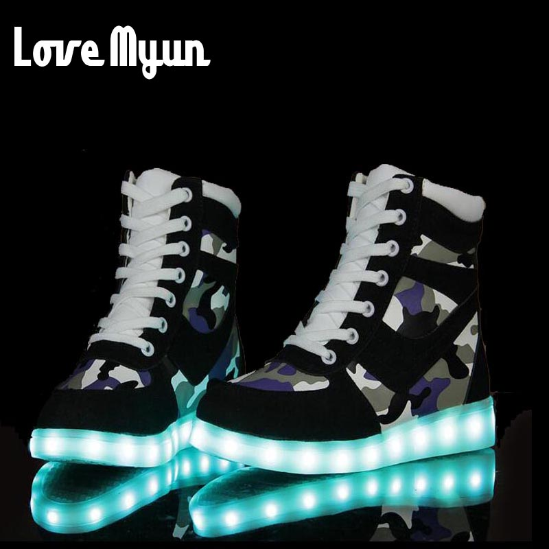 ФОТО  New  7 Colors camouflage Casual Flash Shoes Men Luminous Shoes High Top LED Lights USB Charging Colorful Shoes  DD-80