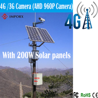 4G/3G solar power camera 1.3mp HD 960p P2P Onvif PTZ Vision CCTV AHD Camera with 200w solar panels