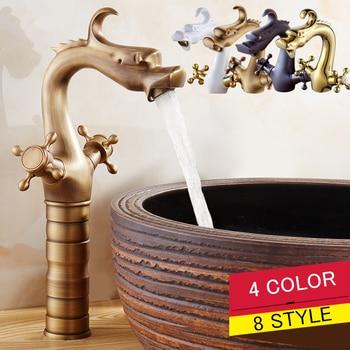 (4 Color) Vintage Creative Dragon Design Deck Mounted  Bathroom Sink Basin Faucet Antique Brass Double Handle torneiras TP-1088