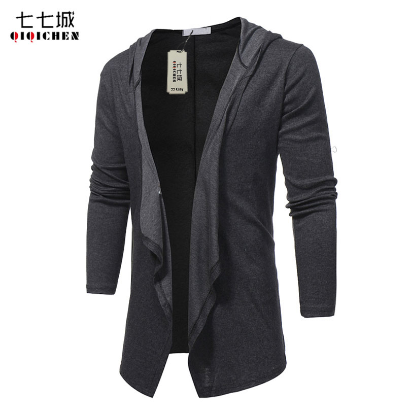 2017 Spring Autumn New Fashion V Neck Shawl Collar Long Hoodie Cardigan Jacket Men Hooded Cloak Black Casual Male Gothic Coat