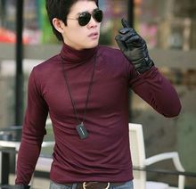 2013 autumn and winter male slim turtleneck long-sleeve basic shirt thermal long johns solid color underwear customize