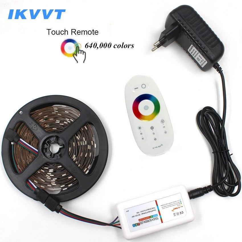 IKVVT 5 m 10 m 15 m Tira Bande Led RGB Diode Bande 12 v LED Bande RGB Ruban DC 12 v alimentation + 2.4g IR Tactile À Distance ensemble Complet