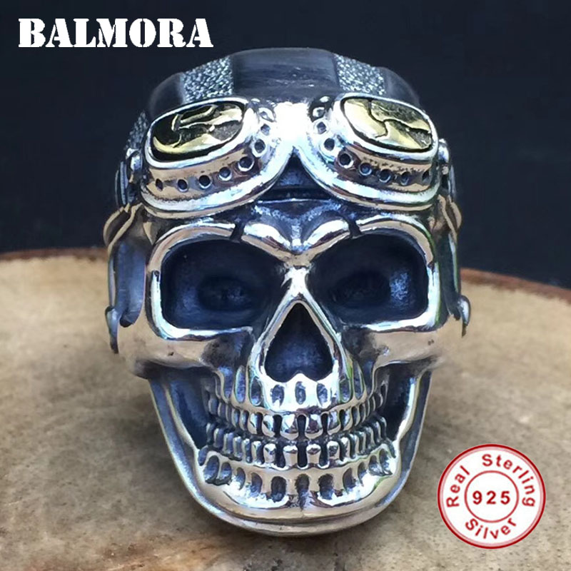 BALMORA 100 Real 925 Sterling Silver Jewelry Vintage Skull Rings for Men Male High Quality Silver