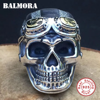 BALMORA 100% Real 925 Sterling Silver Jewelry Vintage Skull Rings for Men Male High Quality Silver Ring Jewelry Anillos