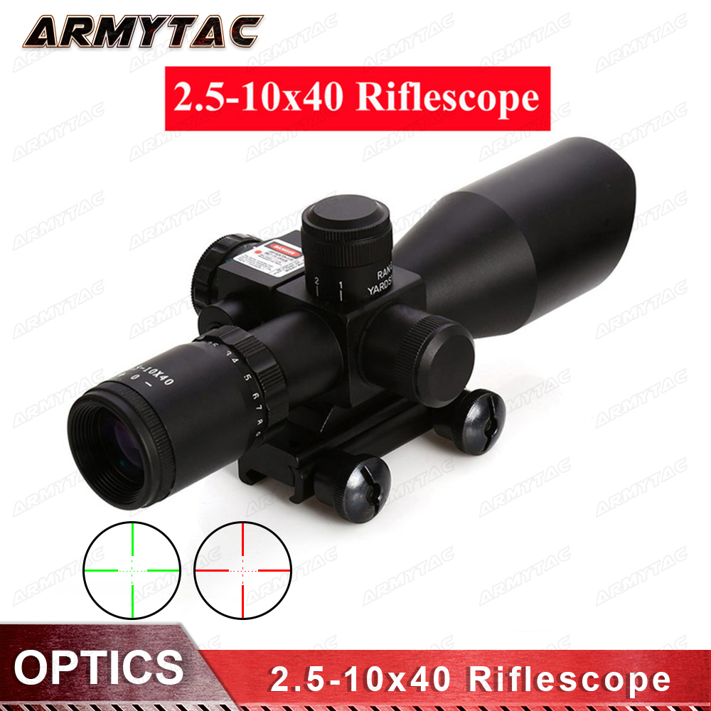 Hunting Rifle Scope Sight 2.5-10x40 Red Green Illuminated Mil-dot Gun RifleScopes Optics Sight Scope with 20mm & 11mm Mount 4x 30mm red green mil dot reticle rifle scope with gun mount black 3 x ag13 1 x cr2032
