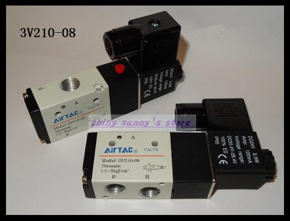 1Pcs 3V210-08 DC24V 3Port 2Position 1/4 BSP Single Solenoid Pneumatic Air Valve Brand New 1 4 dc 12v 3 way 2 position pneumatic electric solenoid valve bsp air aluminum