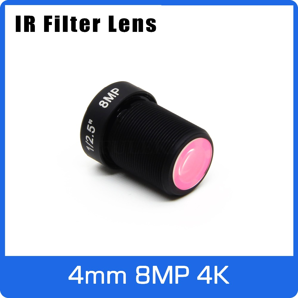 4K Lens With IR Filter 8Megapixel Fixed M12 1/2.5 inch 4mm For SONY IMX317/IMX179 4K Action Camera or Sport Camera Free shipping 4k lens 8megapixel fixed m12 small lens 1 2 5 inch 4mm 100 degree for sony imx274 imx317 imx179 4k ip cctv camera free shipping