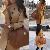 Autumn Fashion Women Trench Coat Double Breasted Long Sleeve Winter Warm Woolen Coats Pockets Slim Fit Waist Belt Outerwear