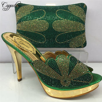 Capputine Latest Design Green Color Shoes And Bag Set Fashion Elegant Spike Heels Shoes And Bags To Match Set For Party BL885C