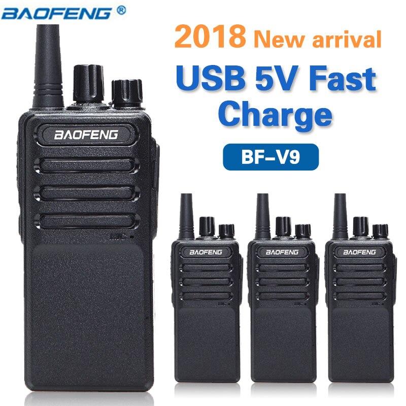 4 pz 2018 Baofeng BF-V9 USB 5 v Carica Veloce Walkie Talkie 5 w UHF 400-470 mhz CB radio portatili Aggiornamento di BF-888S Two Way Radio