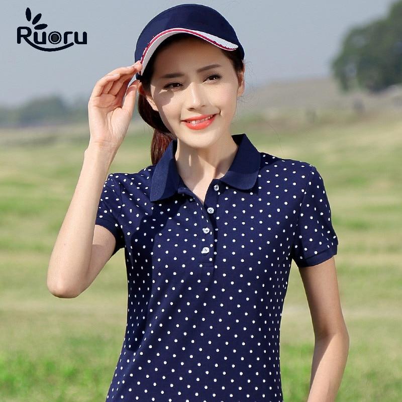 Ruoru M - 4XL Plus Size Cotton Dot Polo Shirt Women 2018 Femininas Shirt Summer Short Sleeve Polo Femme High Quality Women Polos