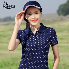 Ruoru M - 4XL Plus Size Cotton Dot Polo Shirt Women 2018 Femininas Summer Short Sleeve Femme High Quality Polos