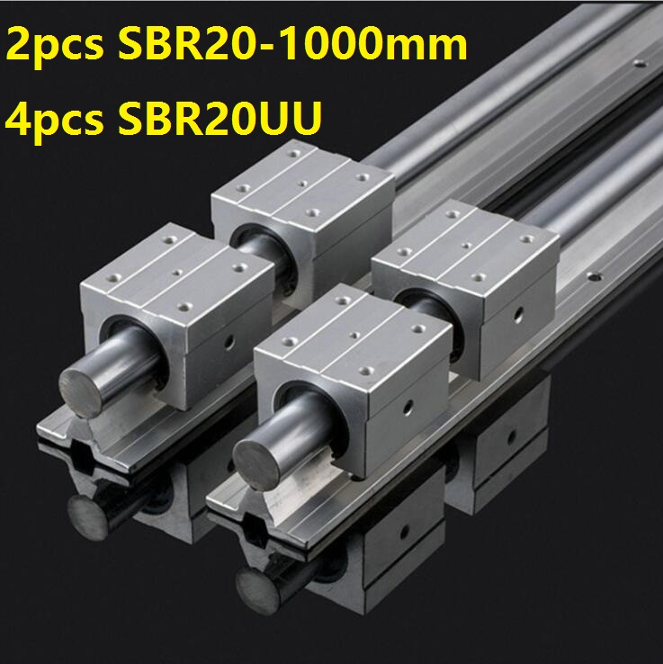 2pcs SBR20 20mm -L 1000mm support guide linear rail + 4pcs SBR20UU linear blocks CNC router linear guide