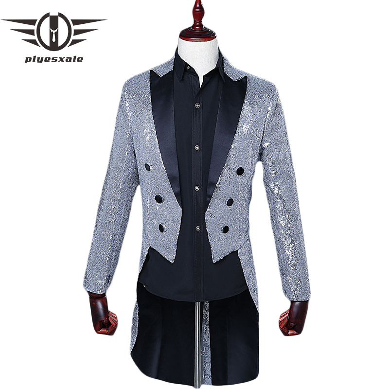 Plyesxale Tuxedo Blazer Men 2018 Black Red Blue Silver Gold Sequin Blazer Jacket Man Slim Fit Tailcoat Stage Party Blazers Q292