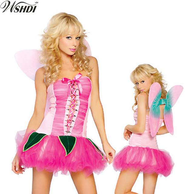 deluxe sexy frauen anime halloween party kostume tinker bell cosplay tinkerbell kostum pink fairy pixie