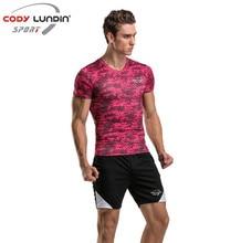 Meia de compressão Leggings Em Execução de Fitness Apertado Compressão Ternos Set Mens Ginásio T-shirt Roupas + Calças Fato de Treino Crossfit