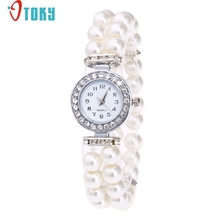 Willby Fashion Lady Pearl Beads Rhinestone Elastic Bracelet Wrist Watch Women Quartz Dress Watches 170525