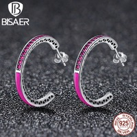 High Quality 925 Sterling Silver Purple Radiant Hearts Ring With Enamel Clear CZ Wedding Earrings Jewelry