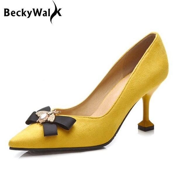 BeckyWalk צהוב/שחור Stilleto אביב נשים נעלי הבוהן מחודדת גבירותיי משאבות דבורה Bowknot עקבים גבוהים שמלת נעלי אישה WSH2630