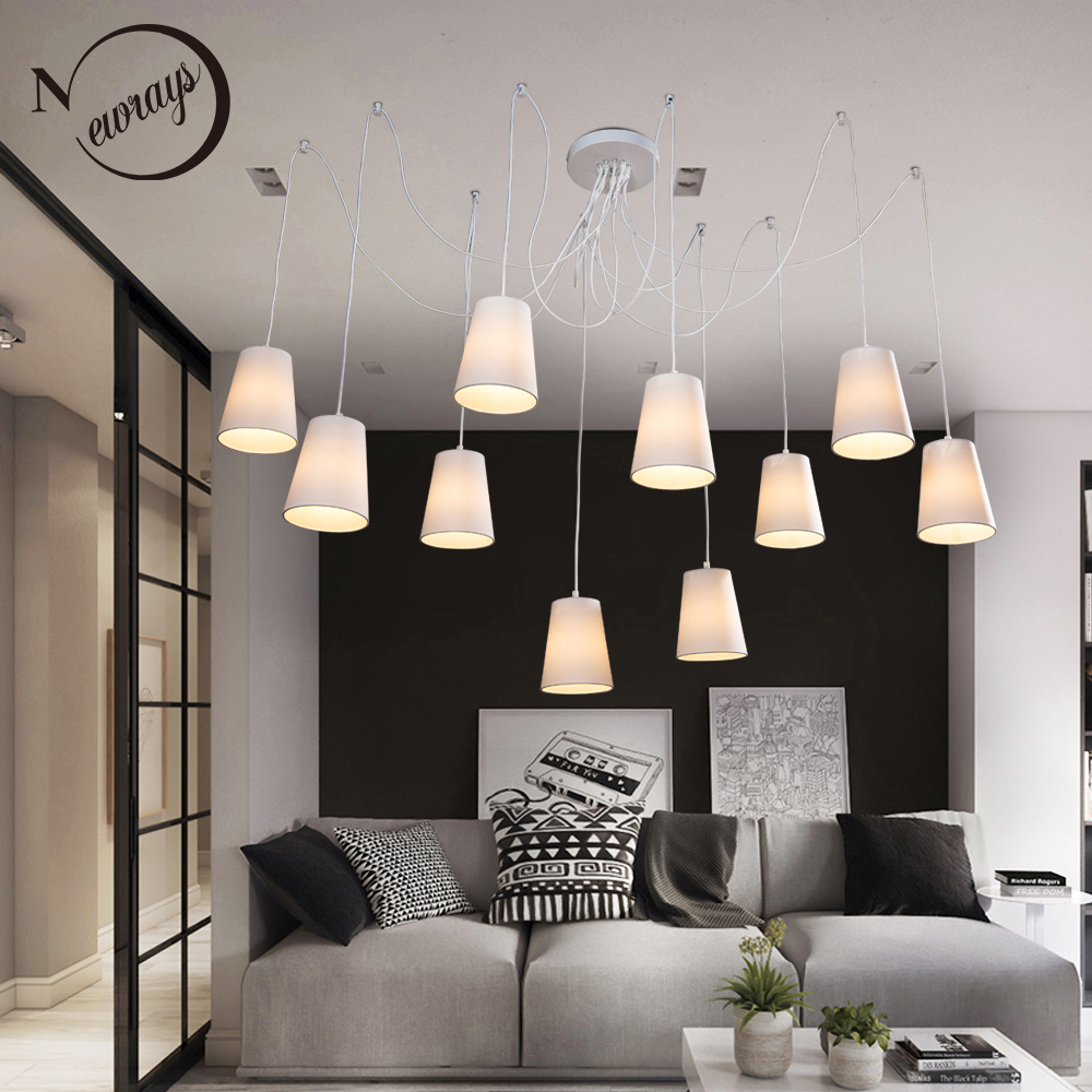 Modern Fashion large spider braided chandeliers white black fabric shades 10 lights Hanging Clusters ceiling lamp