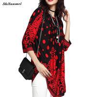 Blusas Mujer De Moda 2018 Red Silk Blouse Floral Printed Chemisier Femme Christmas Long Blouse 3