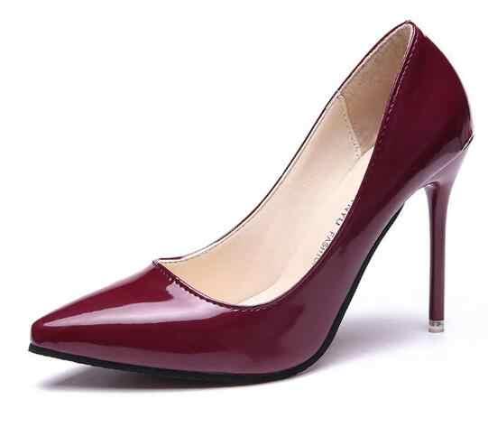 2019 Sıcak Kadın Ayakkabı Sivri Burun Pompaları Patent Deri Elbise Yüksek Topuklu Tekne Düğün Zapatos Mujer Mavi Şarap Kırmızı Boyutu 34-40