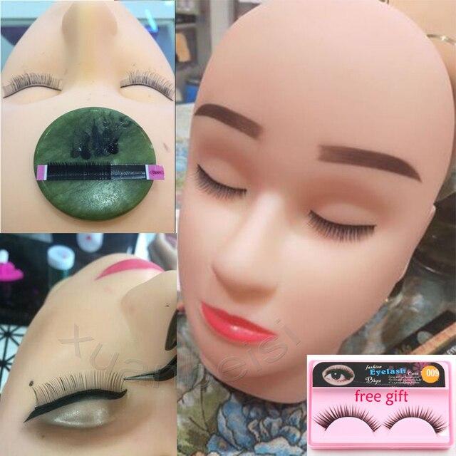 Mannequin Head For Eyelash Flat Head Silicone Practice False Eyelash Extensions Make Up Model Massage Training With Free Eyelash