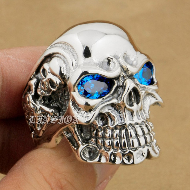 LINSION Solid 925 Sterling Silver Titan Skull Blue CZ Stone Eyes Mens Boys Biker Rocker Punk Ring 8V305 USA