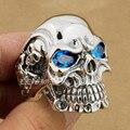 Titan linsion esterlina del sólido 925 de plata del cráneo azul piedra de la cz ojos mens boys anillo punky del motorista rocker 8v305 ee. uu.