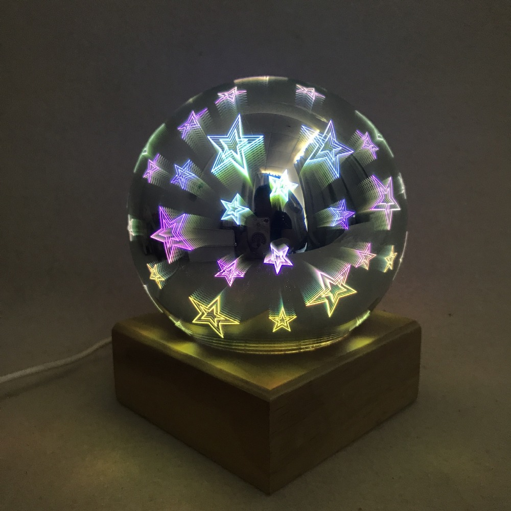 3D magic ball projection lamp Colorful bedroom bedside night light party star air atmosphere lamp powered by 5V USB