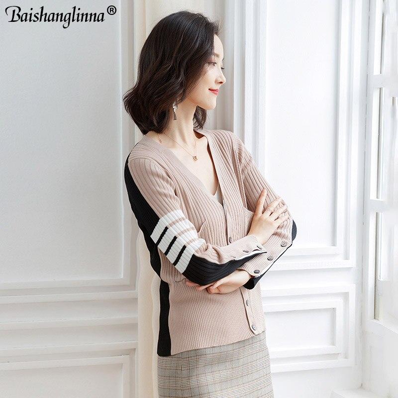 Baishanglinna Women Cardigan Elegant Knitted Wear Solid Color V-neck Cardigan 2019 Spring Autumn Sweater Cardigan For Women