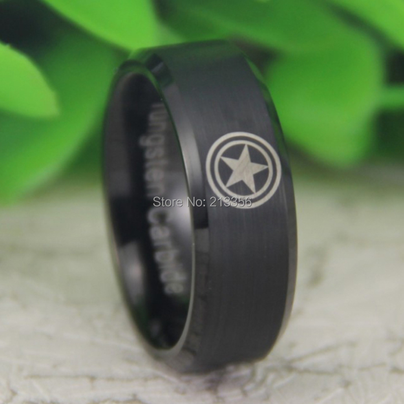 Cheap Price Free Shipping USA Canada Hot Selling 8MM Matte Black Beveled Captain America New Men's Fashion Tungsten Wedding Ring