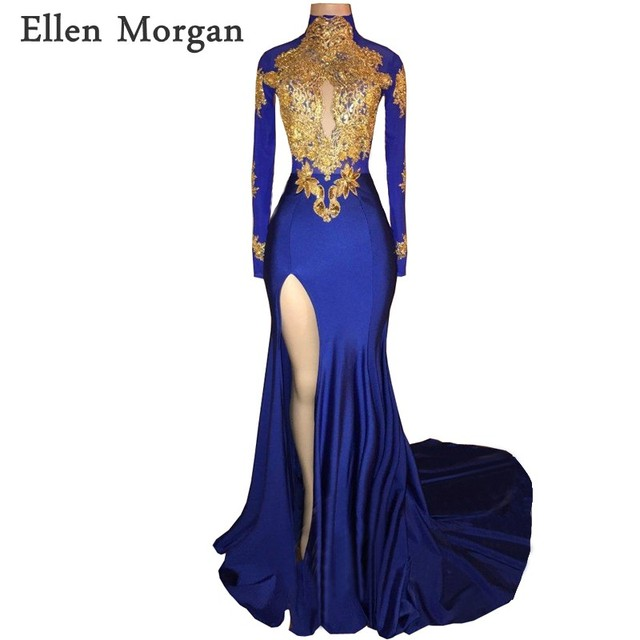 b8eb534b204 Royal Blue Long Sleeves Mermaid Prom Dresses 2019 for African Black Girls  Gold Lace High Neck Vestido De Festa for Party Gowns