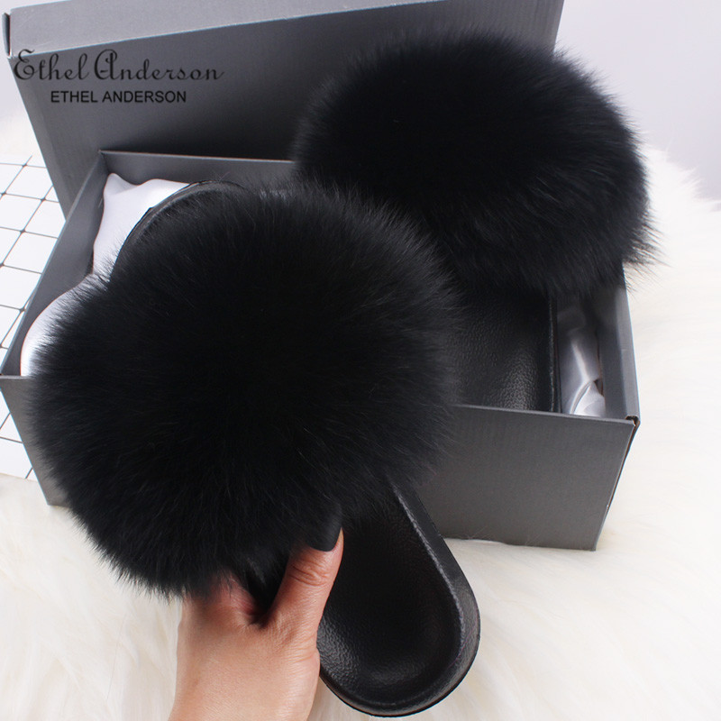 Wholesale Real Fox/Raccoon Fur Slides Slippers New Arrival Beauty Summer Flip Flops Fluffy Fur Sandals Plush Shoes