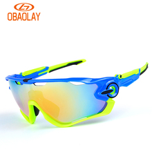 Obaolay 5 Lens Polarized Cycling Glasses Bike Goggles Outdoor Sports Bicycle Sunglasses Hiking Riding Sports Bicycling Eyewear