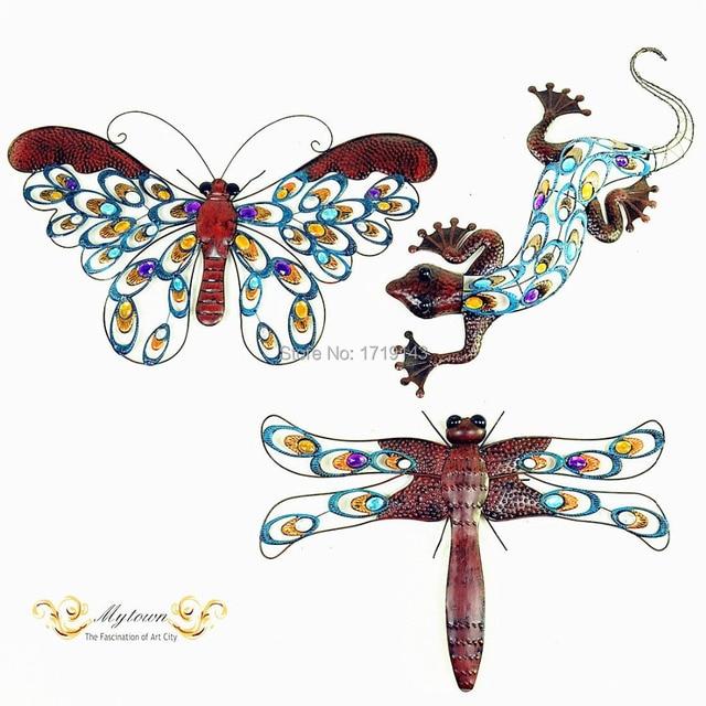 Metal Wall Art Butterfly Lizard Dragonfly Gecko Home Garden Decor on ...