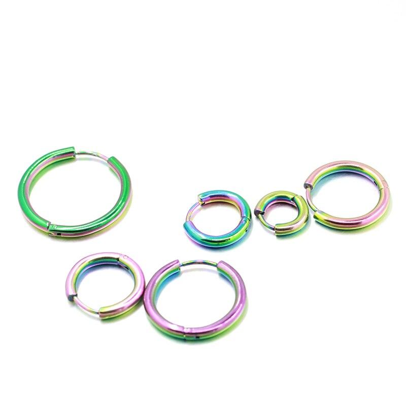 Punk Gold Stainless Steel Hoop Earrings Huggie Simple Style Circle Hoop Earring K Pop Fashion Earrings for Women Man Jewelry
