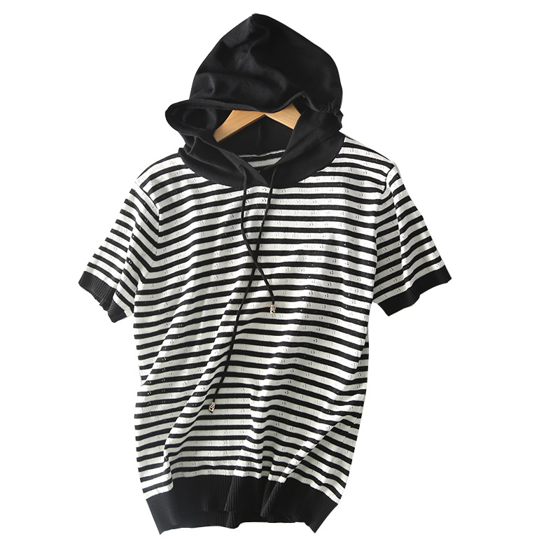 High Quality Summer Stripe Hoodies Short Sleeve Knitted Loose Hollow Cashmere Woolen Sweatshirt Pullover Casual Polerones